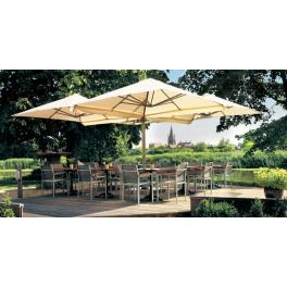 Parasol multiple 4 carrés, mobilier de terrasse, pour hotels et restaurants